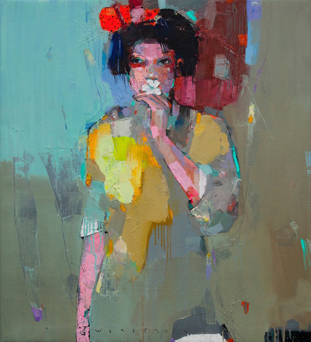 viktor sheleg-girl with flower-olio su t