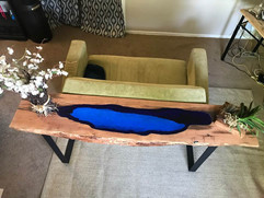 Mesquite Slab Behind Couch Table With Blue Glass Inlay - $1200