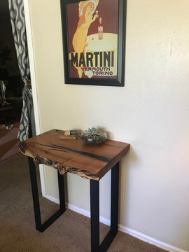 Mesquite Slab Side Table/Entry Table w/ Black Epoxy Inlays - $500/600