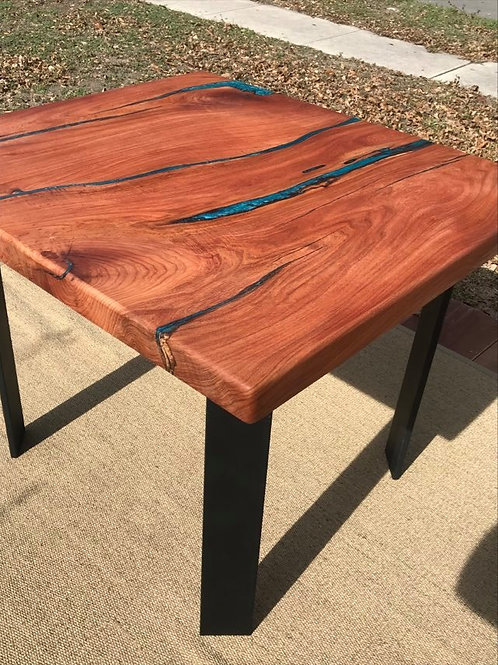 Mesquite and Turquoise Burl Slab Stream Table