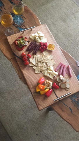 Red Oak Charcuterie Board w/ Black Epoxy Inlays - $100