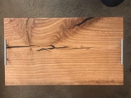 Red Oak Charcuterie Board w/ Black Epoxy Inlays - $80