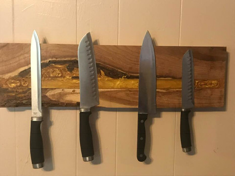 Mesquite Knife Rack With Gold Inlays