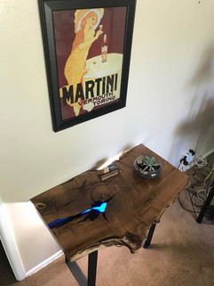 Gorgeous mesquite single slab side/entry table w/blue epoxy inlays - $600