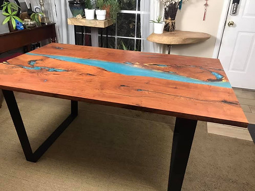 Stunning Mesquite and Transparent Turquoise Resin River Dining Room Table