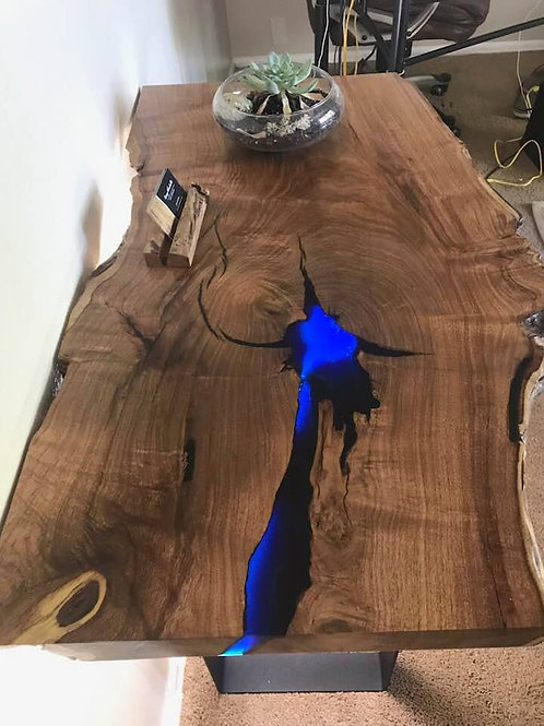 Mesquite 36 x 23 Entry Table with Translucent Blue Epoxy