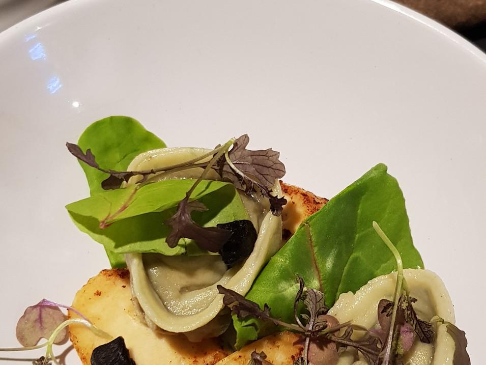 """Beetroot Consomme / Wild Mushroom Tortellini / Truffled Boudin Blanc / """"Mushroom Toast"""""""