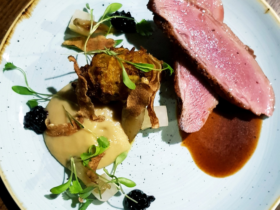 Duck / Jerusalem Artichoke Three Ways / Elderberry Jam