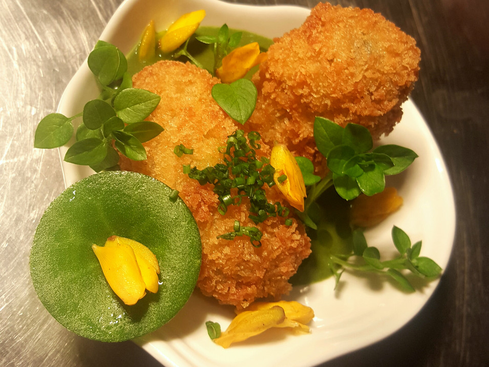 Feta Croquette / Pea Veloute / Chickweed, Pennywort, Gorse Flowers
