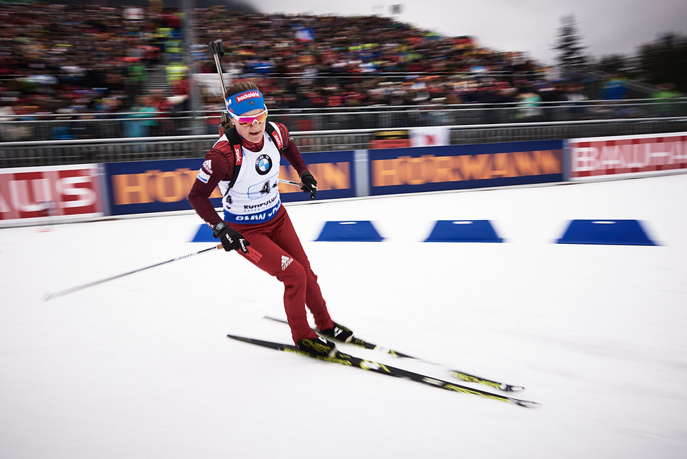Ekaterina Yurlova-Percht during zeroing at Ruhpolding World Cup Biathlon