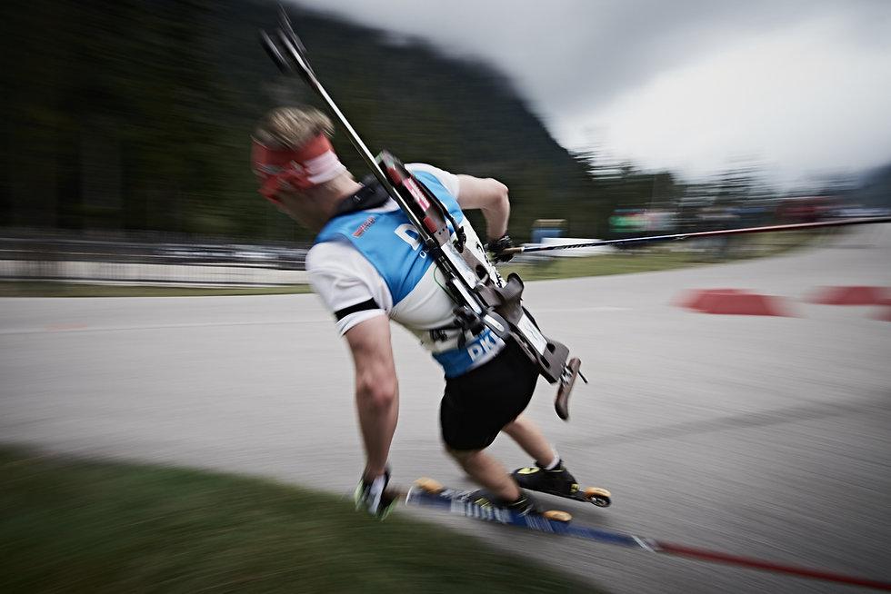 Rollerski racing in the Chiemgau Arena in Rupolding. Johannes Kuhn in action during the Deutesche Biathlon Sommer Meisterschaft