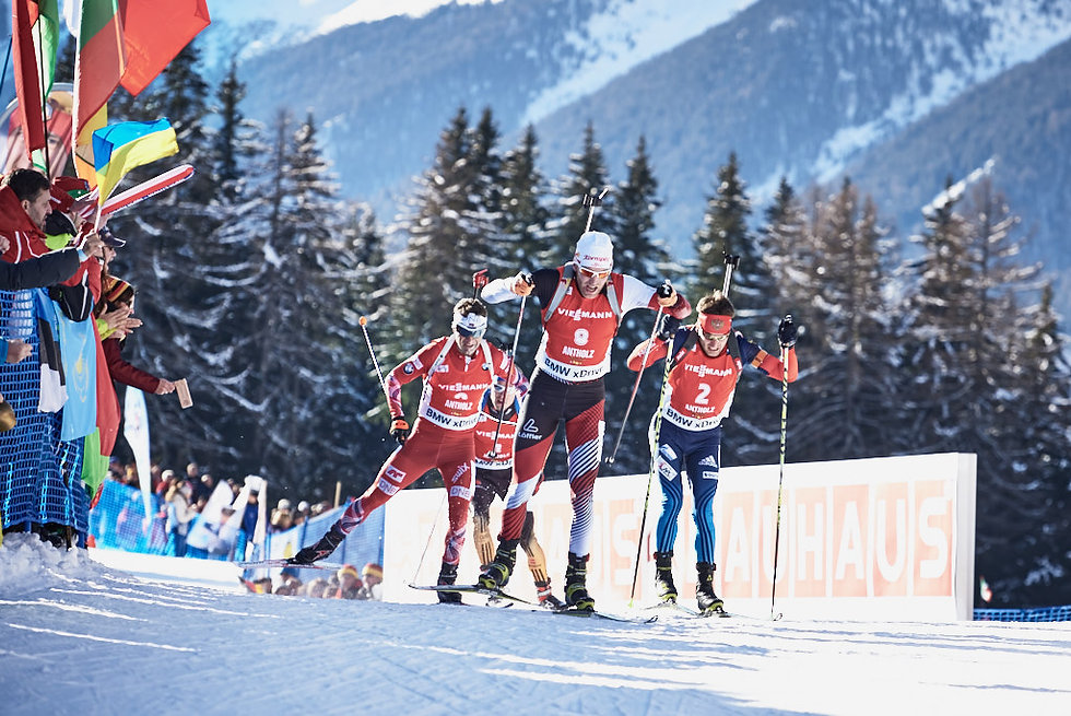IBU Biathlon final sprint at Antholz in Italy, Simon Eder and Ole Einar