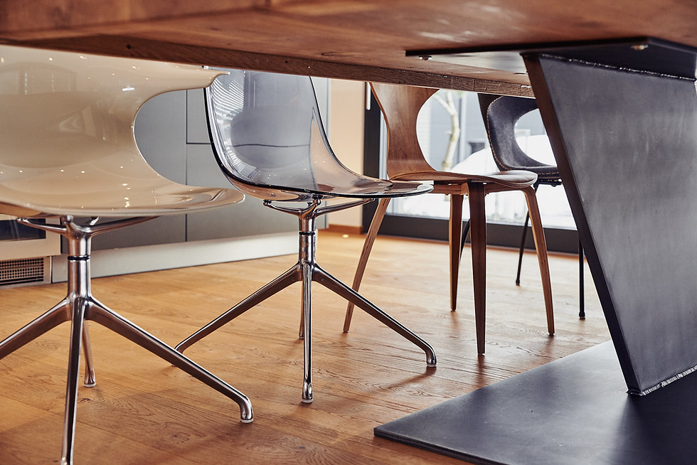 Interior architecture closeup detail of chairs and table