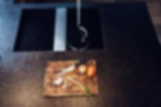 Innenarchitektur und Interior fotografie blick von oben nach unten mit blick auf Arbeitsplatz im Kuche