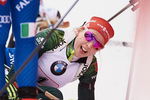 Franziska Preuss during the relay race at Ruhpolding World Cup Biathlon