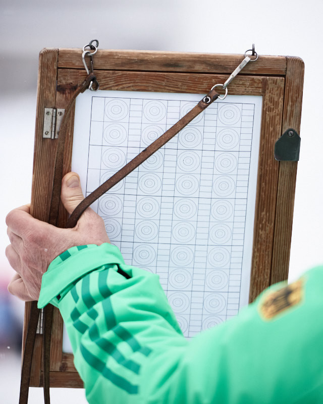 Shooting board of the German team during zeroing at the Biathlon World Cup