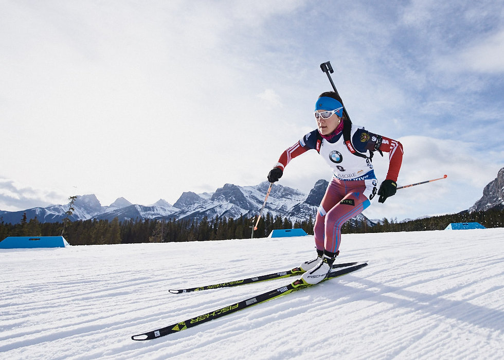 Canmore Biathlon World Cup Woman in Action during the Sprint
