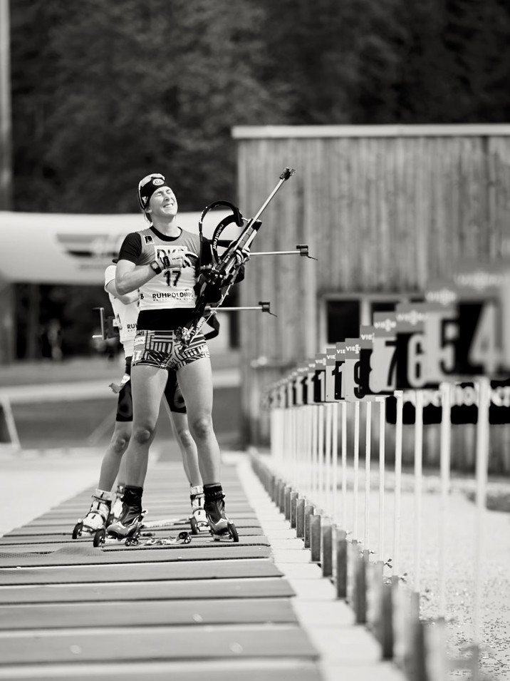 Biathlon Sommer Meisterschaft Ruhpolding, at the shooting range with a penalty loop, biathlon world cup
