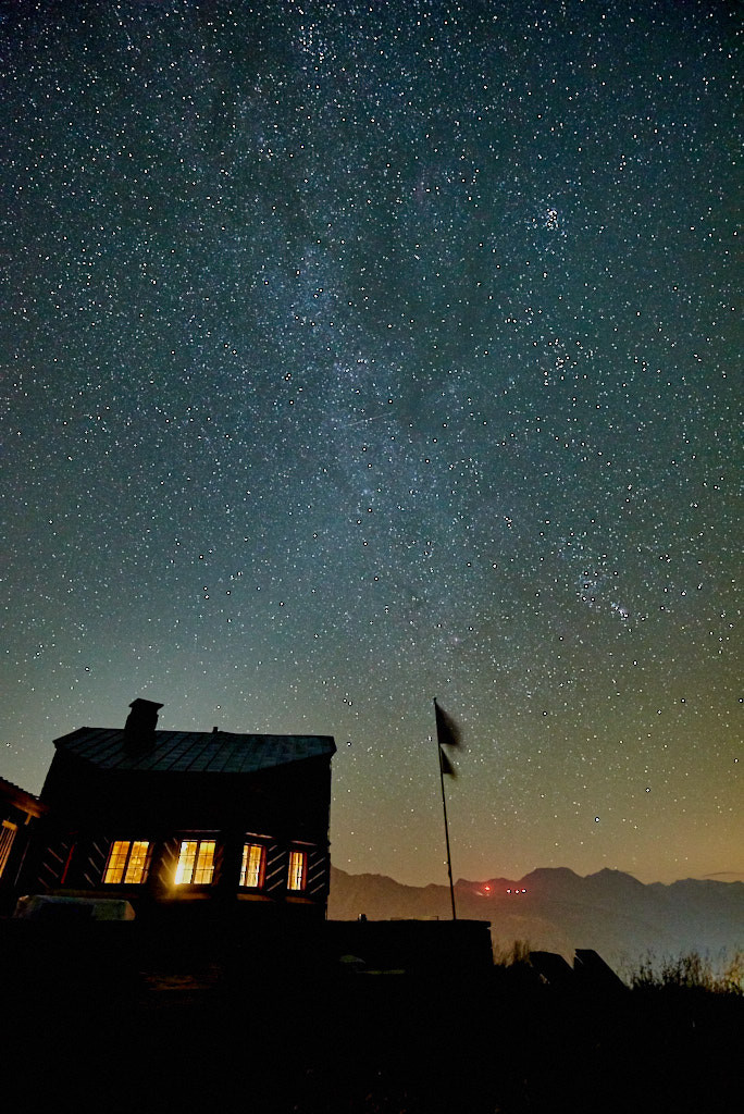 Salbitschijen Salbit Hütte, night and astro photography, adventure photographer in europe