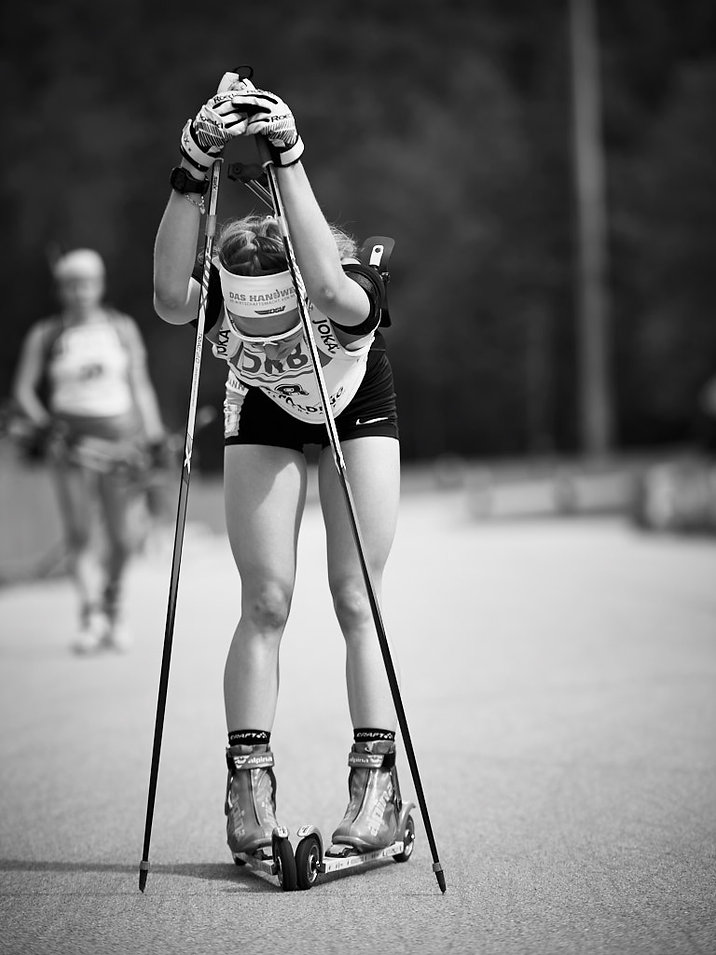 Biathlon, am ziel fix und fertig, Sport photographer