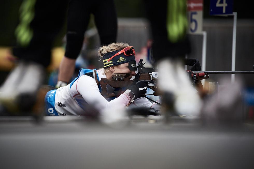Biathlon Deutsche Meisterschaft Ruhpolding. Chiemgau Arena. Damen Staffel - Sportfotografie.
