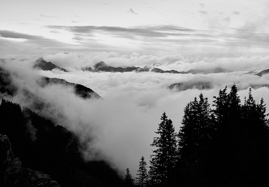 Landscape chiemgau bayern view from the Kampenwand with cloud cover