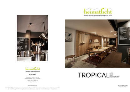 Tropical Cafe with lighting from Heimatatlicht. Interior design photography of bespoke lighting solutions.