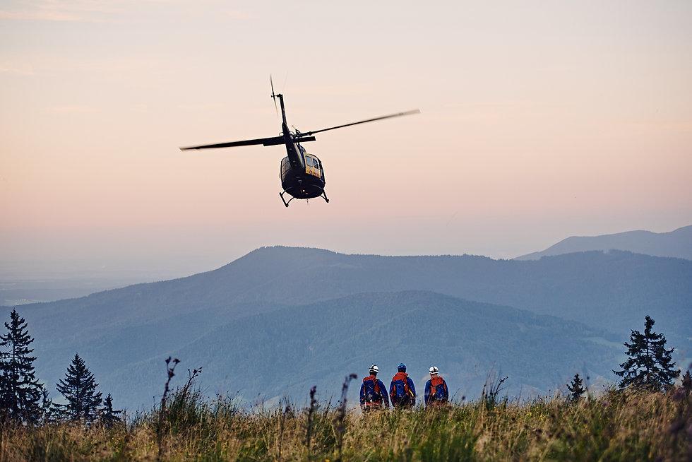 Bergwacht Chiemgau, Hubschraube Übung am Unternberg, Ruhpolding.