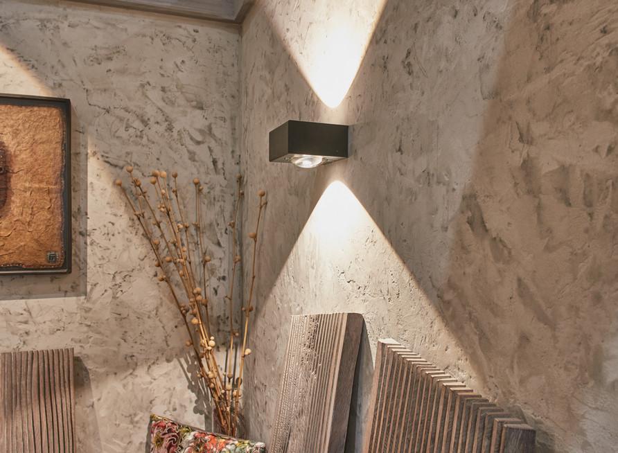Innenarchitektur Fotogarfie. Sitzraum mit wandbeleuchtung