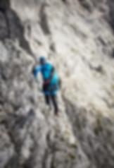 Berge und klettern, Klettersteig in die Alpen. Fotograf für alpin Klettern.