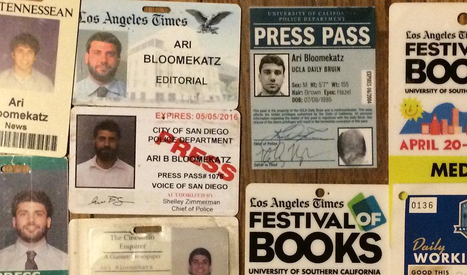 Ari Bloomekatz. Press passes for journalist Ari Bloomekatz, revolutsye books.