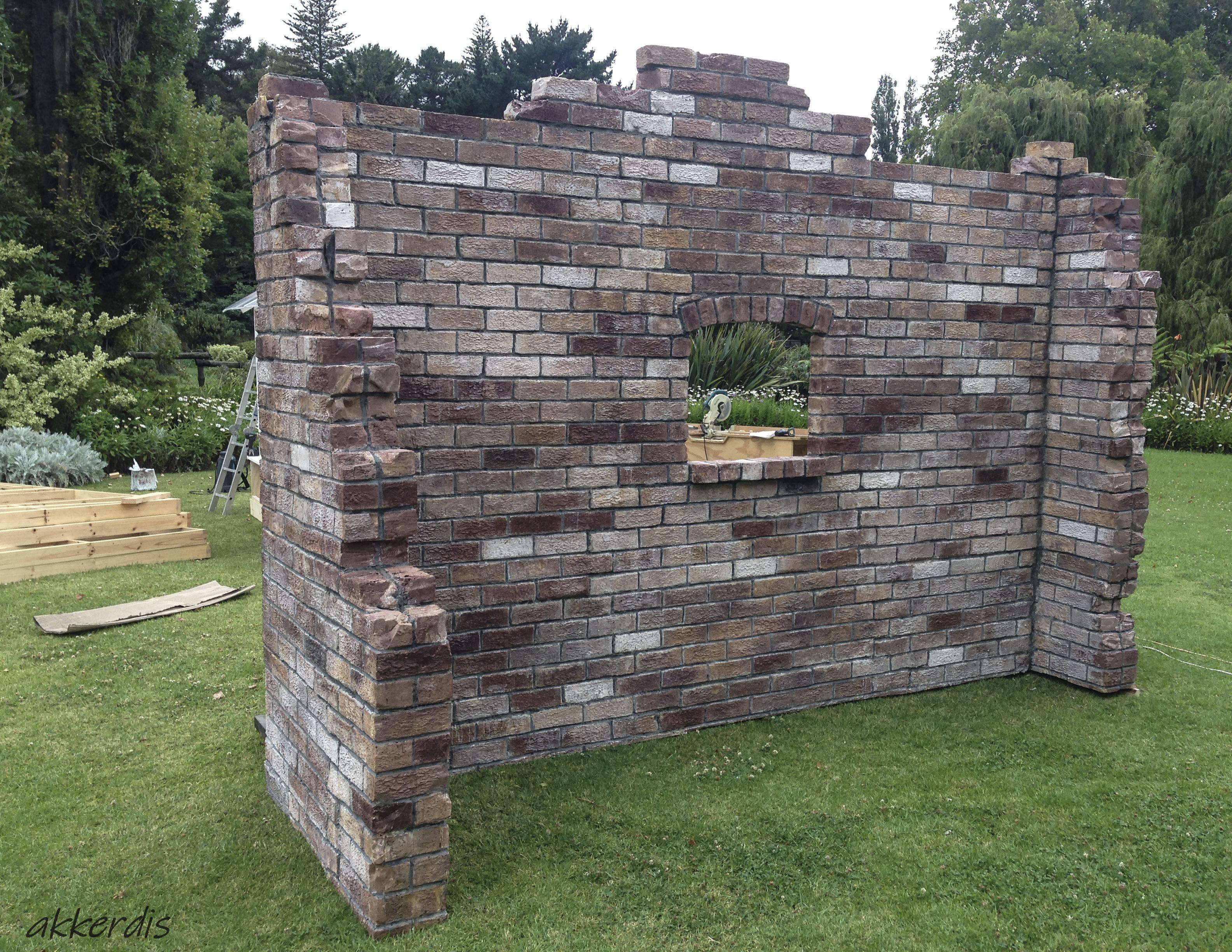 fabricated brick wall