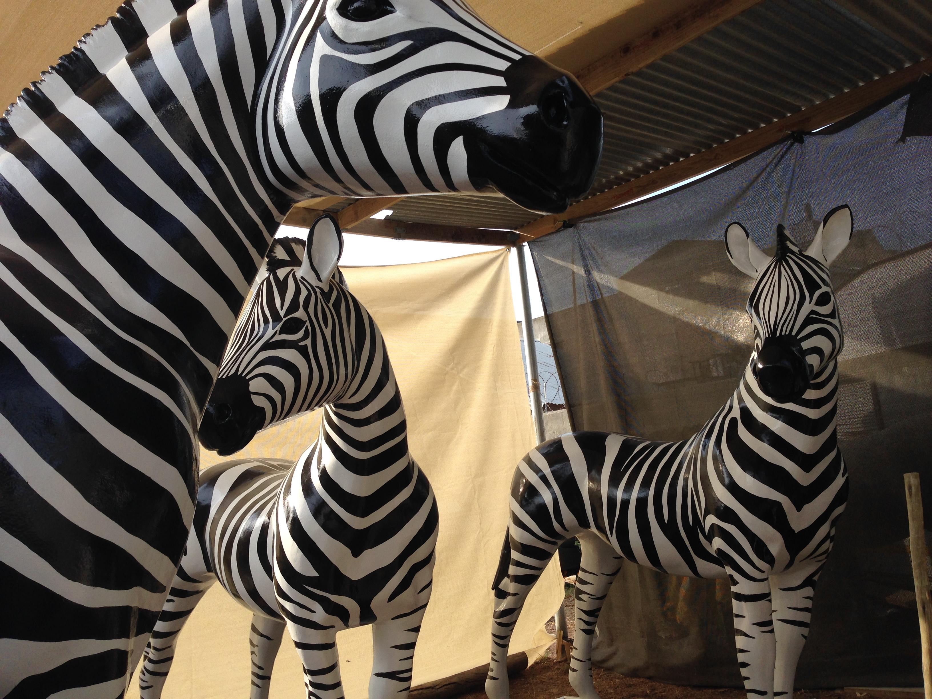 life size fabricated zebras