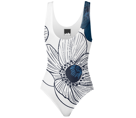 blue anemone swimsuit design Concetta Lorenzo for PAOM