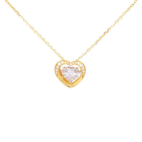 "Diamond Pendant with chain 16"" 18K Yellow Gold"