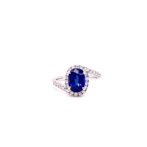 Natural Sapphire Ring 18K White Gold