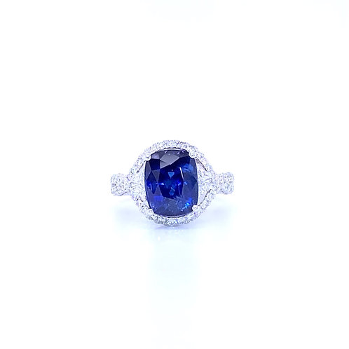 Natural Sapphire Ring 18K White Gold