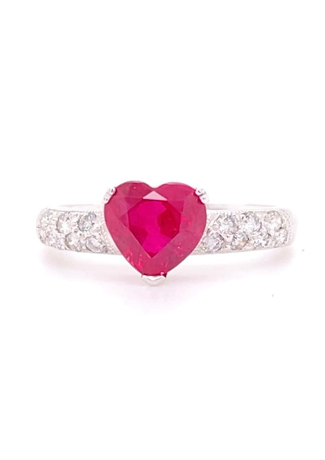 Ruby Ring 18K White Gold
