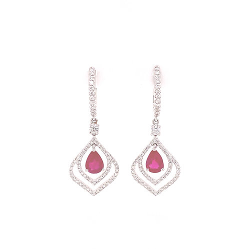 Ruby Earrings 18K White Gold
