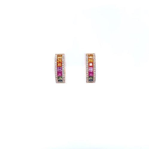 Fancy Colour Sapphire Earrings 18K Rose Gold