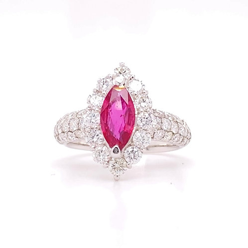 Ruby Ring 90% Platinum