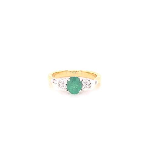 Emerald Ring 18K White & Yellow Gold