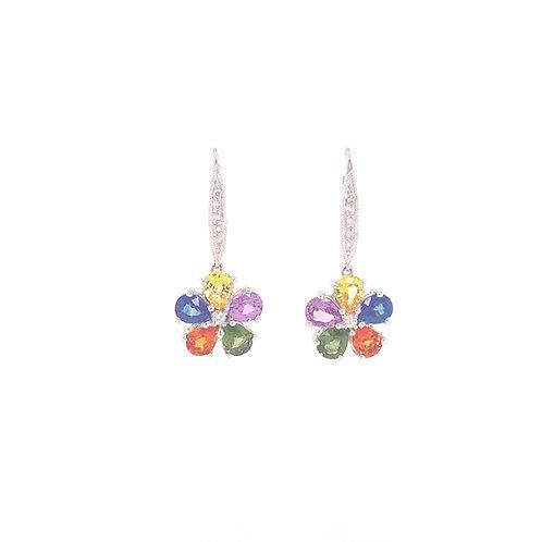Fancy Colour Sapphire Earrings 18K White Gold