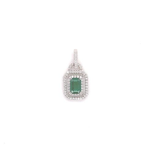 Emerald Pendant 18K White Gold