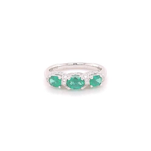 Emerald Ring 18K White Gold