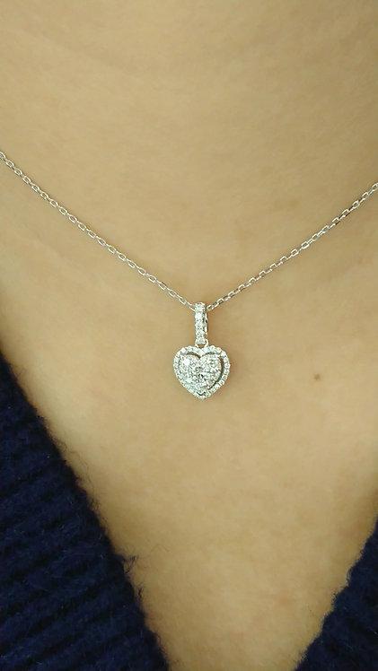 Diamond Pendant with chain 16'' 18K White Gold