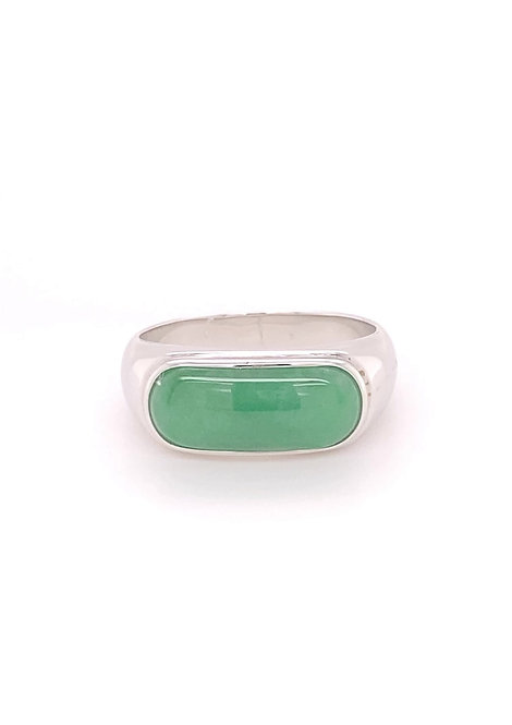 Jadeite Ring 18K White Gold