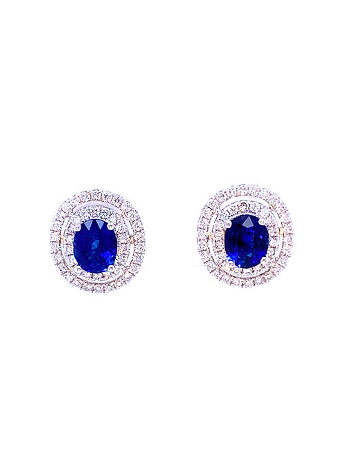 Natural Sapphire Earrings 18K White Gold