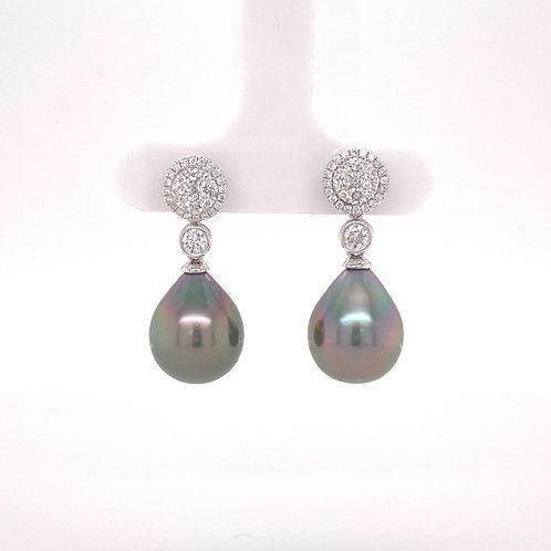 Tahitian Cultured Pearl Earrings 18K White Gold