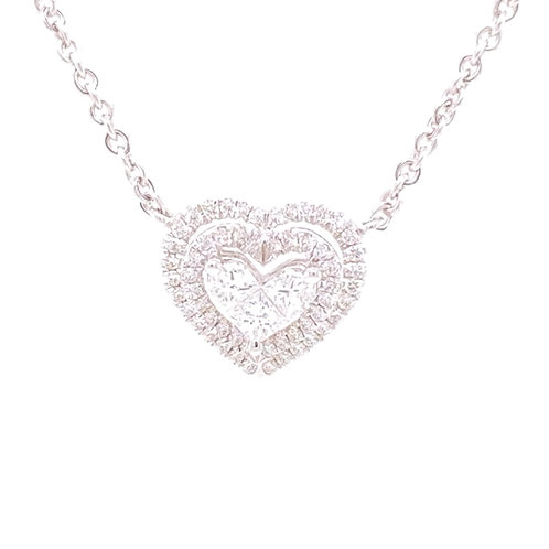 Diamond Pendant with chain 18'' 18K White Gold